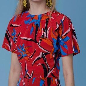 New Diane von Furstenberg dvf crop floral top L